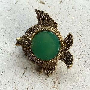 Jewelry - Fish Brooch Pendant Green Gold Tone